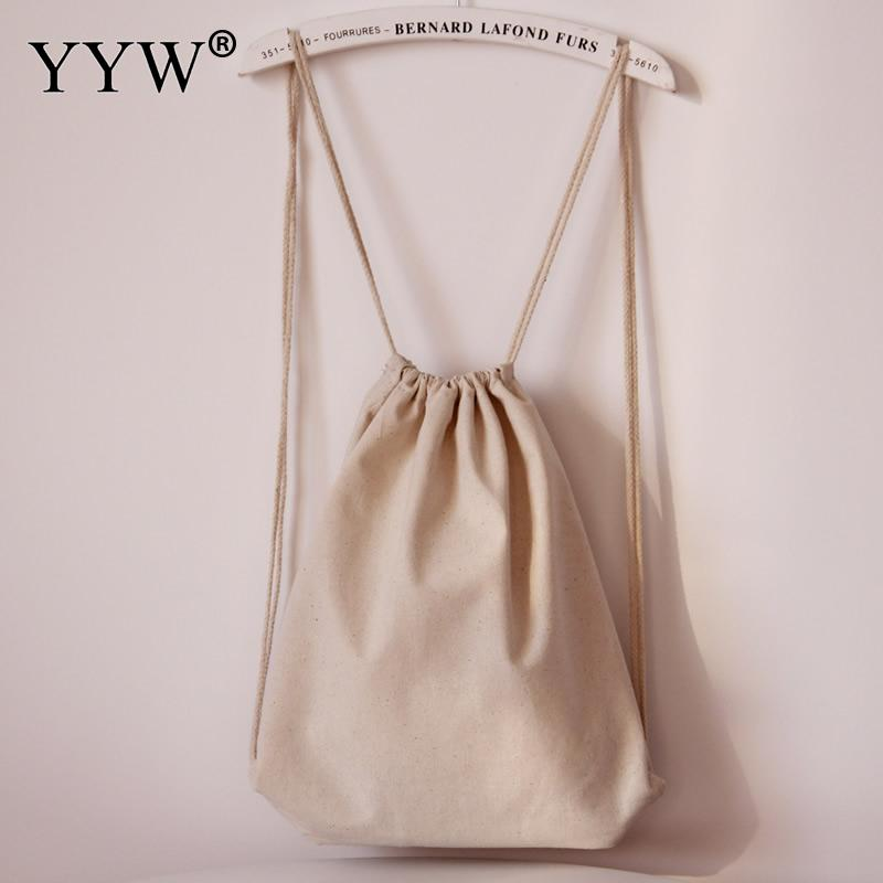 Canvas Drawstring Backpack Women Fashion Trendy Girl Schoolbag Bucket Bags Shape Female Travel Backbag Mochila Escolar Feminina