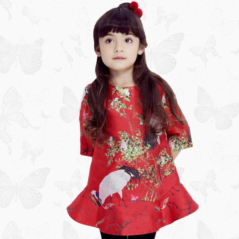 Малыша девушки платья Детская одежда 2017 фирменное платье принцессы для девочек одежда печать дети платье 55