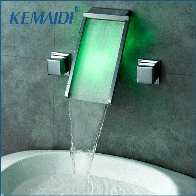Square Handles 3 Holes Wall Mounted LED Waterfall Faucets,Mixers & Taps LED Mixer Bathtub LED Faucet Set JN6410Square Handles 3 Holes Wall Mounted LED Waterfall Faucets,Mixers & Taps LED Mixer Bathtub LED Faucet Set JN6410