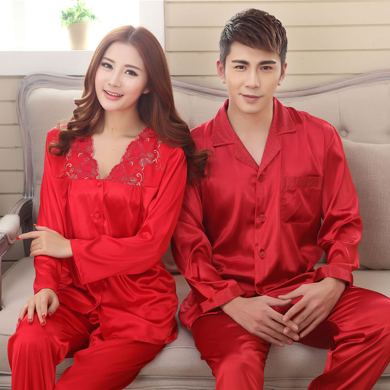 f2ed91a4b2 2016 New Spring & Autumn Silk Couple Pajama Set Comfortable & Smooth Satin  Sleepwear Couple Matching Pajamas Women Home Clothing-in Pajama Sets from  ...