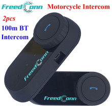2 шт. система внутренней связи для шлема мотоцикла гарнитуры Bluetooth Interphone Max 100 M 2 всадника говорить водонепроницаемый с FM радио