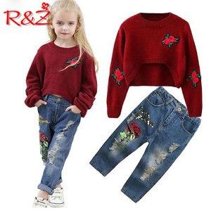 R & Z Vestiti per Bambina Cotone 2019 Nuova Primavera Manica Lunga O-Collo T-Shirt Rosa di Stampa Dei Jeans Dei Capretti Dei Vestiti Dei Bambini(China)