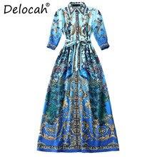 Delocah Fashion Designer Maxi Dress Women 3 4 Sleeve Elegant Bow Belt High  Split Floral Print Vintage Long Dress vestido longo be3e7094bb2a