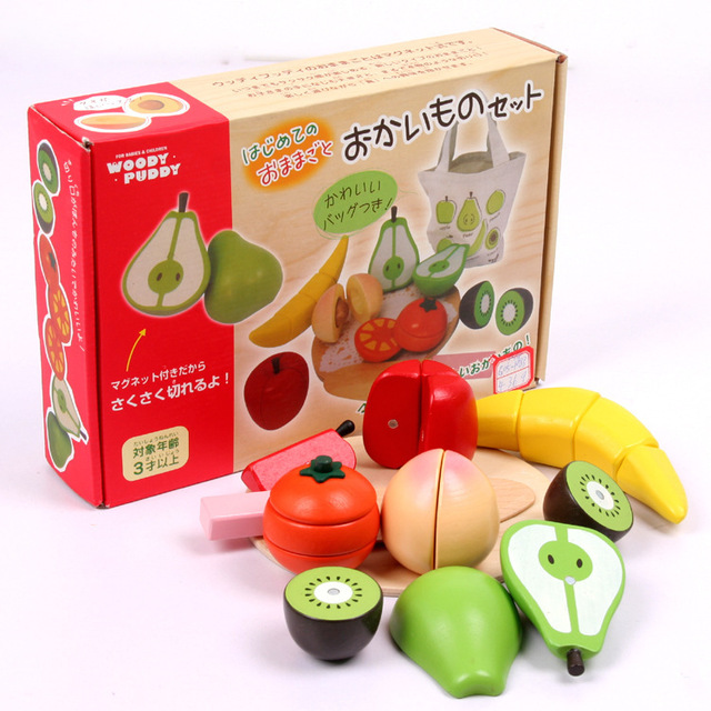 fruit bag cutting  magnetic  children wooden fruit toys kitchen fruit vegetable wooden kitchen toy package Japan import quality