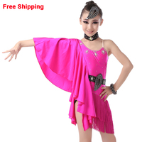 Professional Sexy Backless Asymmetrical Latin Fringe Dress Girls Children Kids Sequin One Bat Sleeve Dancing Stage Clothes