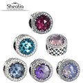 SHEALIA 925 Sterling-Silver-Jewelry Crystal & Clear CZ Radiant Heart Charms Beads Fit Pandora Diy Bracelets For Jewelry Making