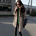 Leopard Fur Coat Long Sleeve Double Pocket Long Coat Female Flagship Models Faux Fur Coat Winter OuterWear Warm Plus Size D0802