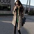 Leopard Fur Coat Long Sleeve Double Pocket Long Coat Female Flagship Models Faux Fur Coat Winter OuterWear Warm Plus Size D0802