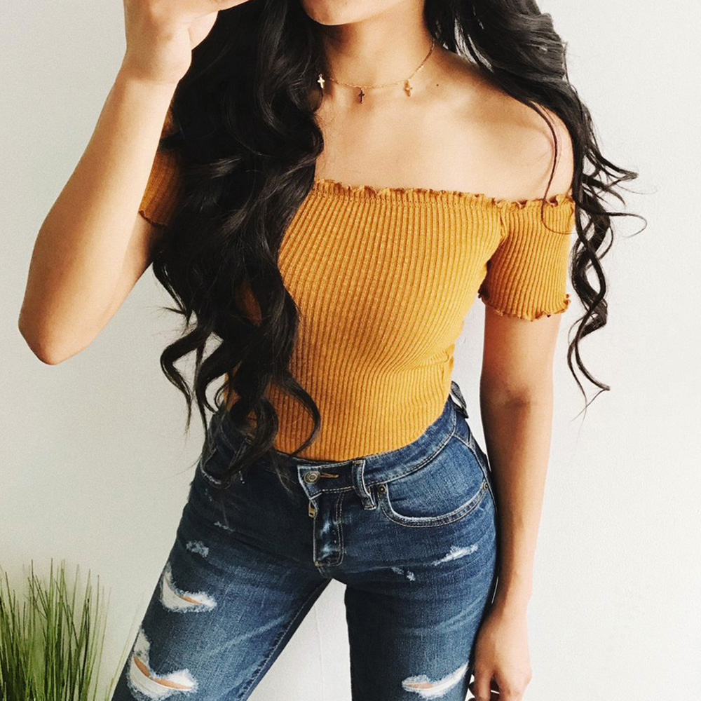 Women T Shirt Off Shoulder Crop Top 2018 Summer Fashion Ruffles Ruched Knit Crop Top Short Tees Streetwear 90s Basic Camis