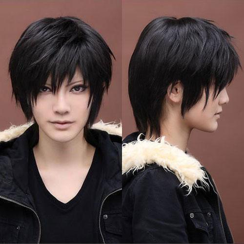 28 Cm Harajuku Anime Cosplay Wig Men Boys Short Top Quality Synthetic Hair Natural Black Wigs