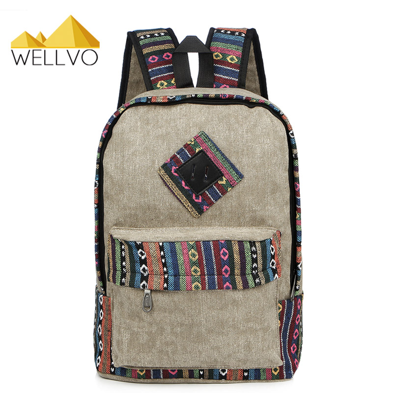 Ethnic Canvas Backpack Fashion Patchwork Vintage Backpack For Teenage Girls Boys School Bags Large Notebook Bag Rucksack XA12C