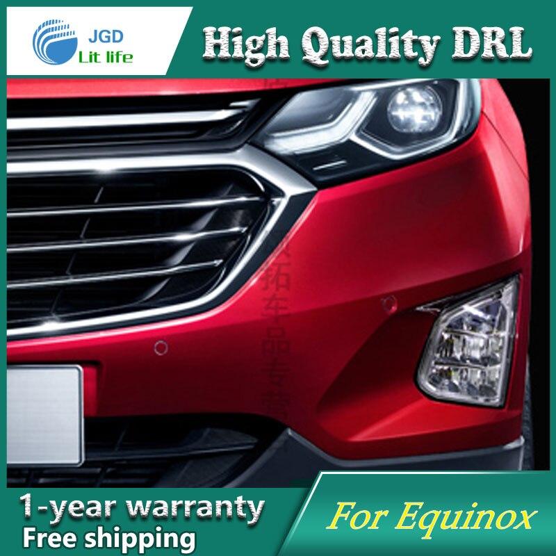 Free shipping ! 12V 6000k LED DRL Daytime running light case for Chevrolet Equinox 2016 2017 LED DRL Fog lights