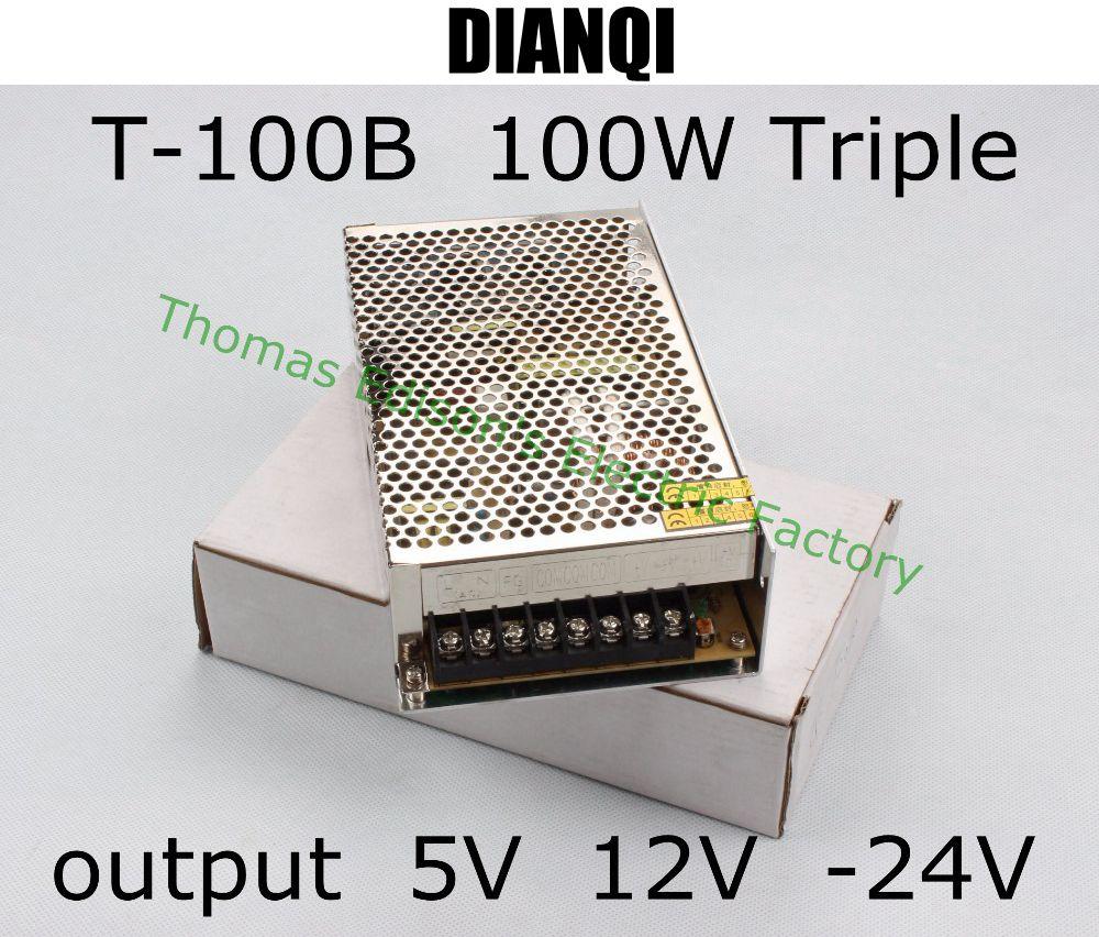 Triple output power supply 100w 5V 6A, 12V 2A, -24V 2A power suply T-100B ac dc converter good quality switching power supply for led strip light triple output 100w 5v 6a 12v 2a 24v 2a input 110 220vac t 100d
