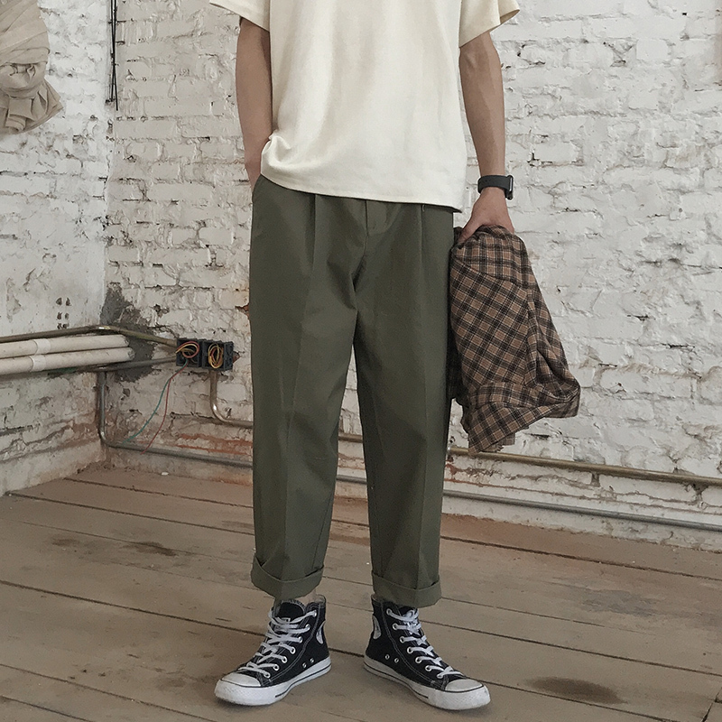 Casual Safari Thin Wide Leg Full Length Pants Men 2018 Summer Japan Style Solid Color Beautiful Loose Trousers Male Sweatpants