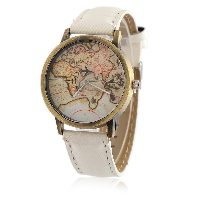 Dameshorloge mode vintage lederen dameshorloge mode quartz mannen horloges vrouwelijke wereldkaart vliegtuigen horloge hete verkoop klok