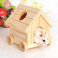 New Design Hamster House Hamster Villa Chalet Deluxe Wooden Toy Mobile Small Pet Trolley House Hamster