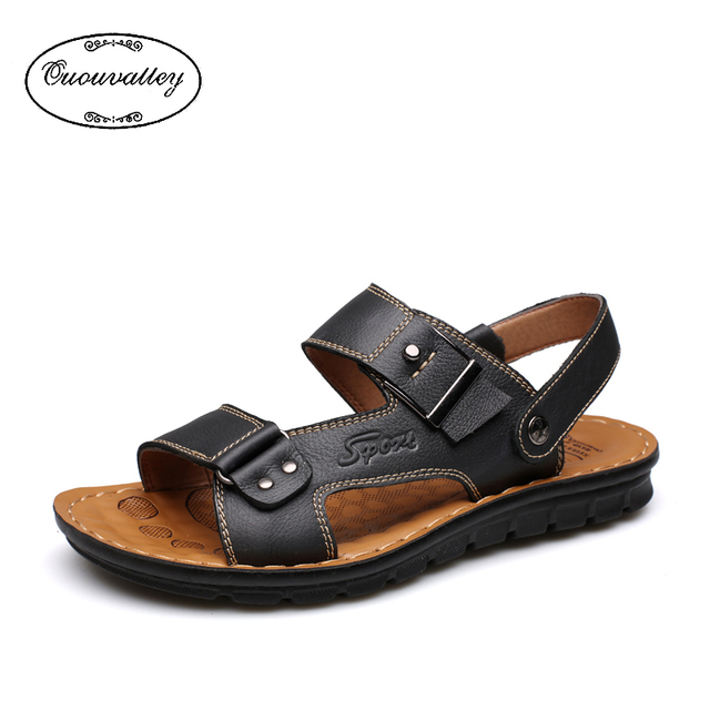 Uberlegen New Arrival 2016 Summer Male Sandals Men Genuine Leather Shoes Open Toe Sandals  Slippers Fashion Casual