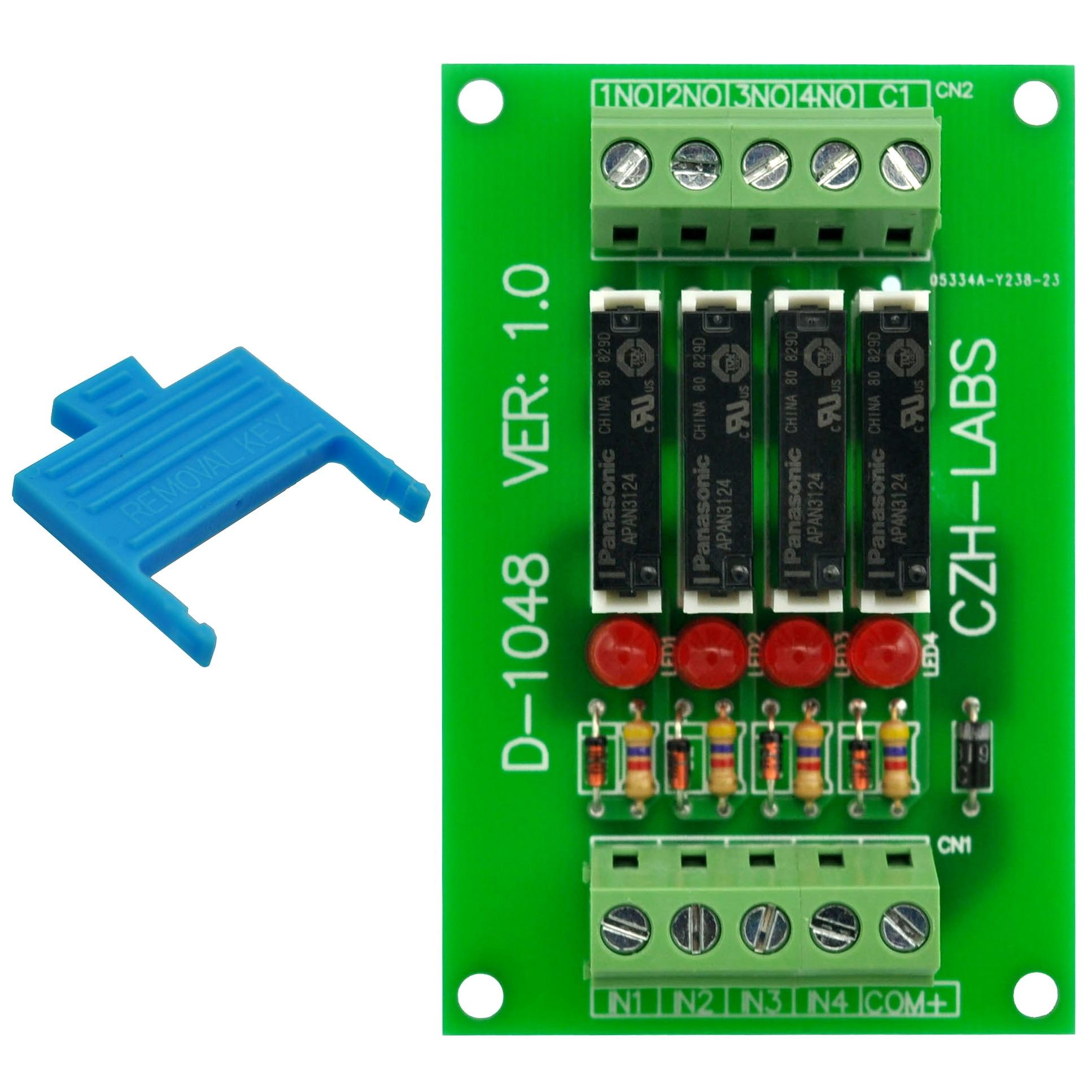 Slim Panel Mount DC24V Sink/NPN 4 SPST-NO 5A Power Relay Module, APAN3124