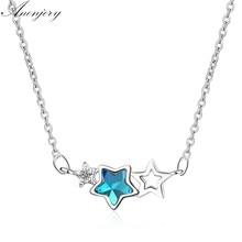 ANENJERY – collier en argent Sterling 925, étoile de cristal artificiel, Zircon, chaîne de clavicule pour femmes, S-N78