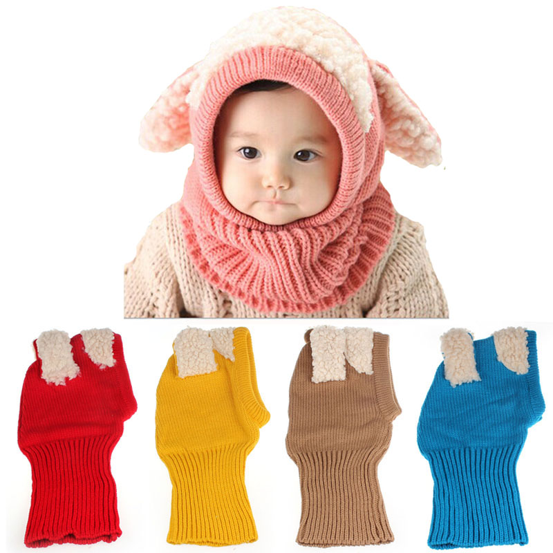 Winter Baby Hats Knitted Woolen Kid Cap Rabbit Ear Casual Scarf Coif