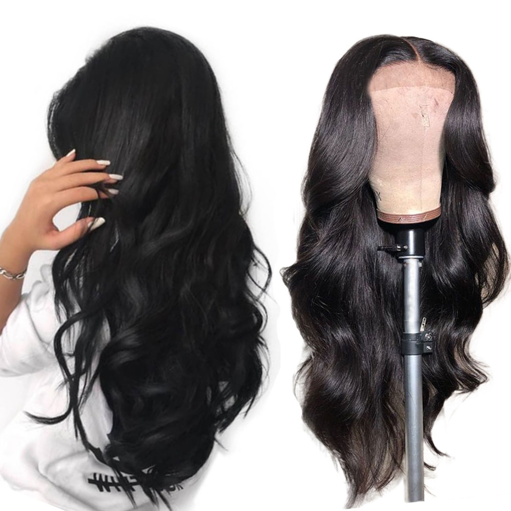 Eseewigs Body Wave 360 Lace Frontal Wigs Human Hair Pre Plucked with Baby Hair Around Brazilian Remy Hair for Women Black Color(China)