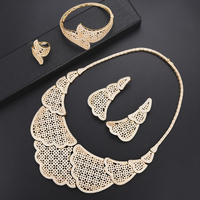 Luxury dubai gold jewelry sets for women Necklace Earrings fashion jewelry Set Bracelet Ring wedding jewelry For Women