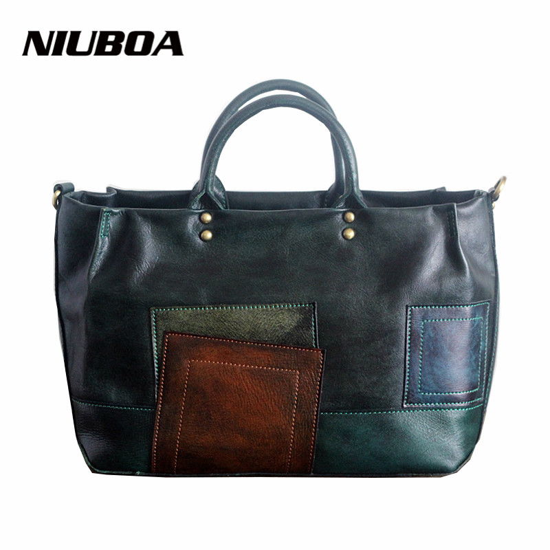 New Arrival Vintage Leather Tote Women Genuine Leather Handbags Ladies Party Shoulder Bags Top-Handle High Quality Cowhide Bags 2018 new fashion top handle bags women cowhide genuine leather handbags casual bucket bags women bags rivet shoulder bags 836