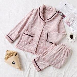 Image 3 - Fdfklak nỉ mặc mùa đông pyjamas nữ dày ấm đồ ngủ bộ đồ ngủ bộ thu đông Pijama của cặp đôi váy ngủ Bộ Pyjama Femme