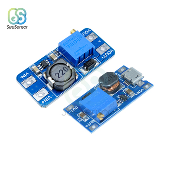 MT3608 DC-DC Adjustable Boost Module 2A Boost Plate Step Up Module with MICRO USB Power Supply Module 2V-24V to 5V 9V 12V 28V image