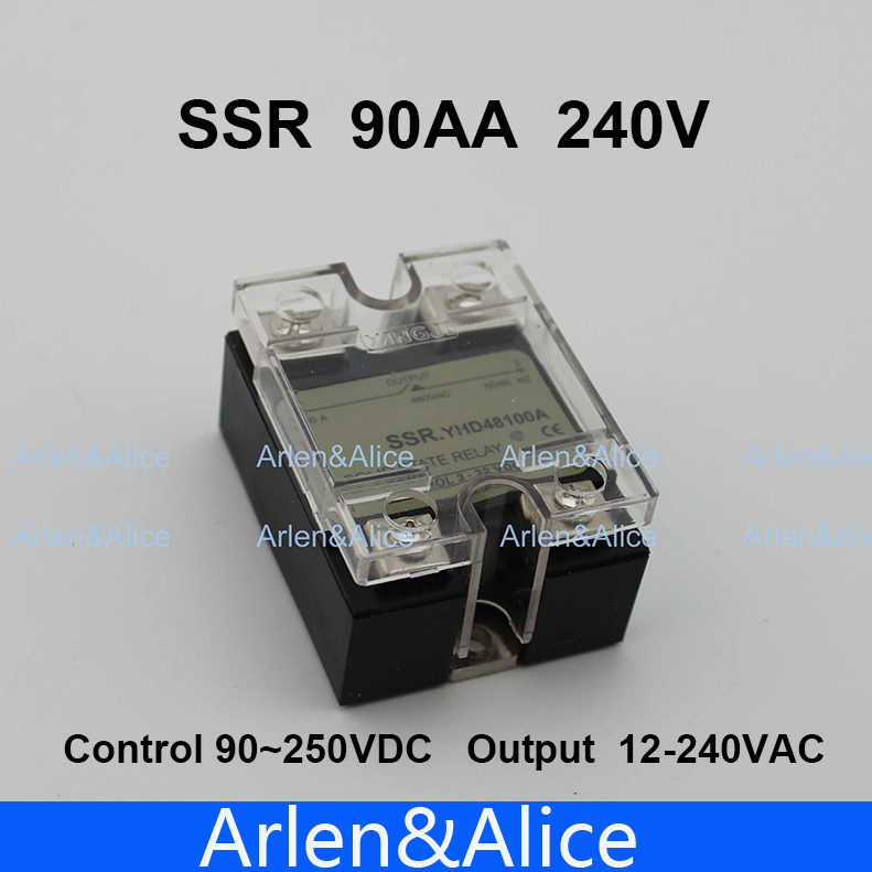 90AA SSR input 90-250V AC load 12-240V AC single phase AC solid state relay ssr 80aa ac output solid state relays 90 280v ac to 24 480v ac single phase solid relay module rele 12v 80a ks1 80aa
