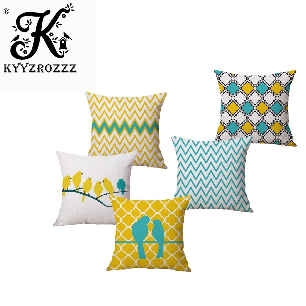 Mode Hohe Qualität Baumwolle Leinen Gelb Geometrie Kran und Vogel Auto Dekorative Dekokissen Fall Kissenbezug Sofa Home Decor