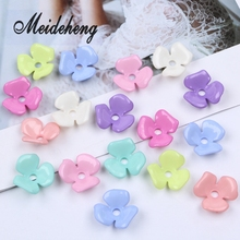 22mm 45PC Wholesale Bend Three Petal Flower Beads Spring Soid Color DIY Craft For Jewelry Making Needlework Accessories