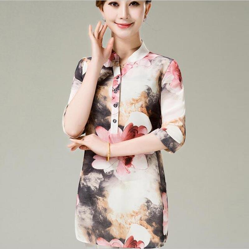 2017 nueva moda de estilo Chino imprimir verano de las mujeres de la blusa elega