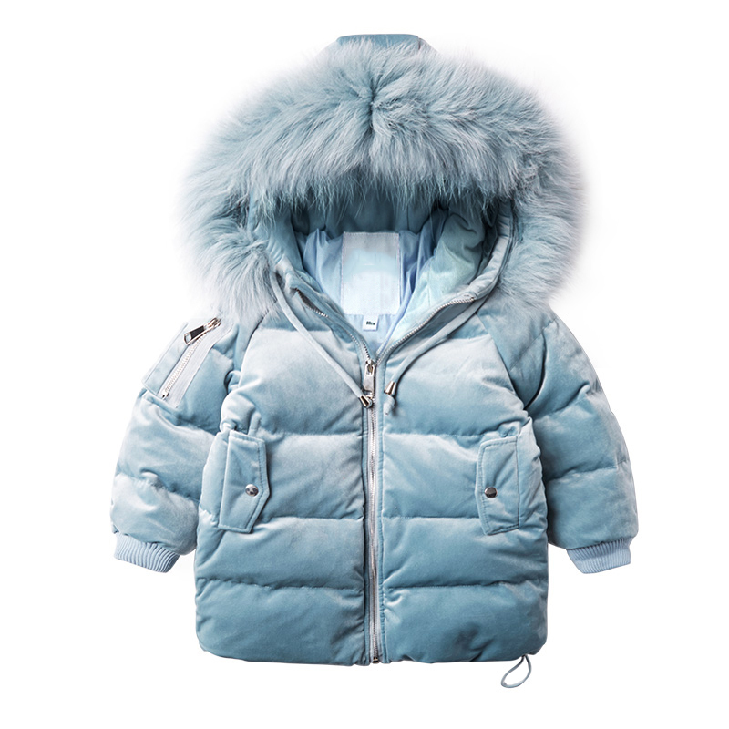 Fashion Children's Long Jacket Fur Collar Padded Jacket Duck Down Baby Boy Girls Winter Thick Warm New Children's Clothing 2-7T russia winter boys girls down jacket boy girl warm thick duck down