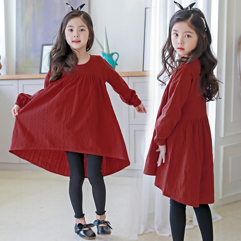 Retail Girls Princess Dress 2018 Girls Spring Koran Fashion New Red O Neck Long Sleeve Party Dresses Children Clothing 12 13 14 girls europe and the united states children s wear red princess long sleeve princess dress child kids clothing red bow lace