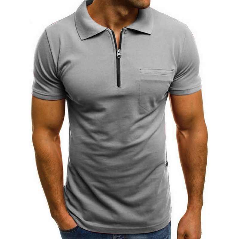 2019 패션 반팔 지퍼 남성 폴로 셔츠 옷깃 넥 캐주얼 폴로 셔츠 남성 슬림 탑스 티 여름 남성 의류