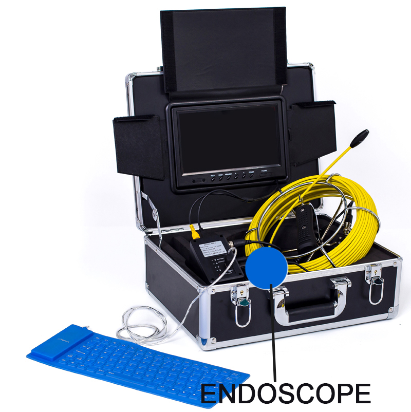 WP91 60M Endoscope Inspection Camera 9 Mini DVR Monitor With keyboard 60M yellow cable Use for inspection or testing in variods