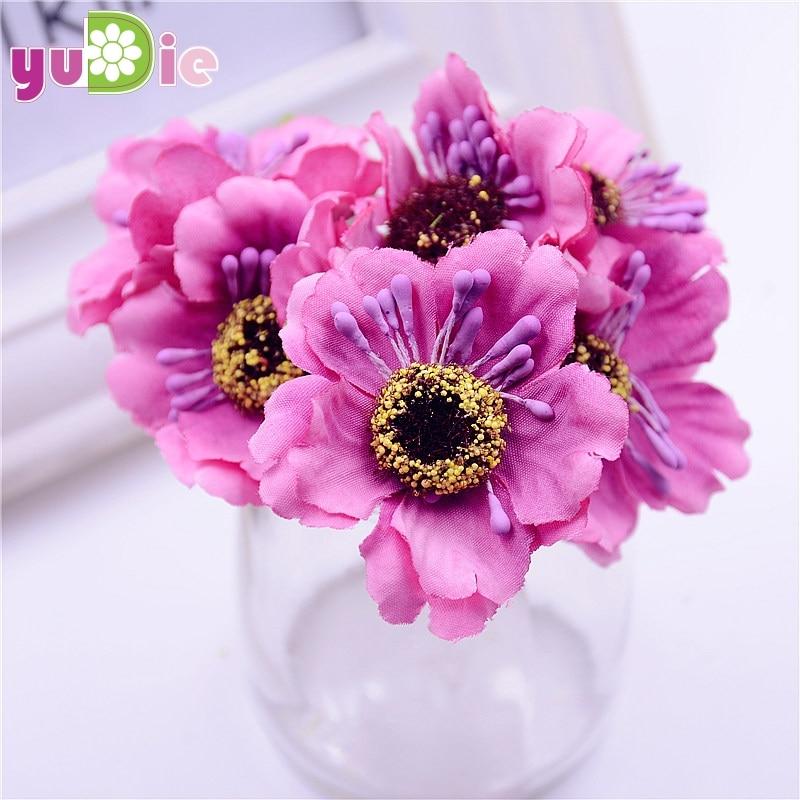 12pcs/lot 14colors Silk Cherry Blossoms Small Artificial Poppy Bouquet Wedding Decoration Mini Rose Flowers For DIY Scrapbooking