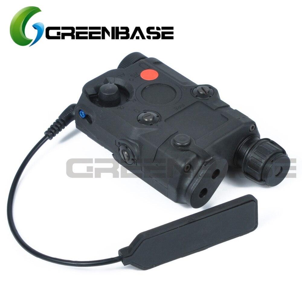 Greenbase Tactique Militaire PEQ-15 Airsoft Scout Lumière Blanche/Rouge Laser/Lumière Laser Combo/Stroboscope Boîtier De Batterie boîte Noire