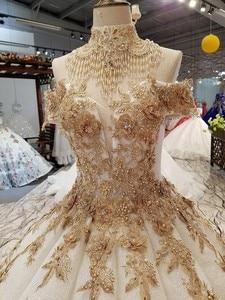 Image 3 - 2018 새로운 패턴 신부 한 단어 어깨 한국어 자기 재배 얇은 간결한 긴 꼬리 색 웨딩 드레스 전체 드레스