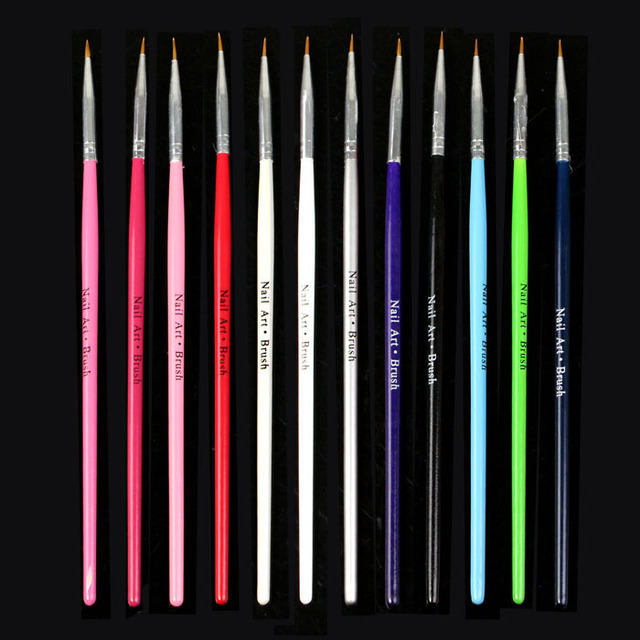 Nieuwe 12 Stks Nail Art Design Brush Pen Fine Details Tips Tekening