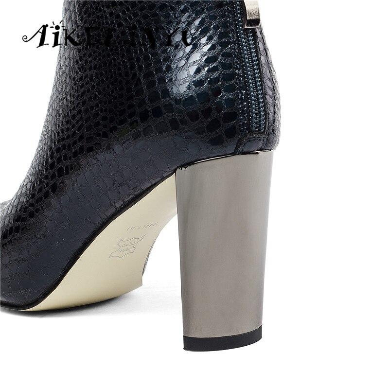 AIKELINYU automne hiver mode Sexy à talons hauts en cuir véritable bottes femmes pierre grainé bottines dame Furry solide Zip bottes - 4
