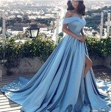 Sky Blue Muslim Evening Dresses 2018 A-line CapSleeves High Slit Sexy Formal Islamic Dubai Kaftan Saudi Arabic Long Gown