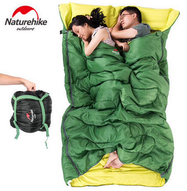 ФОТО Naturehike 2 People Sleeping Bags Portable Outdoor Camping Hiking Sleeping Bag + Pillow+ Inflator +Carrying Bag