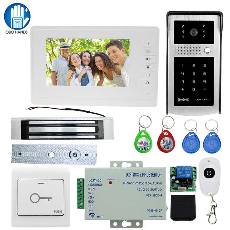 7 TFT LCD Screen Home Access Control Video Doorbell Intercom Night Vision CMOS Outdoor Security Camera with 180kg Magnetic Lock lcd wired video security doorphone camera tft screen video interphone infrared night vision doorbell intercom
