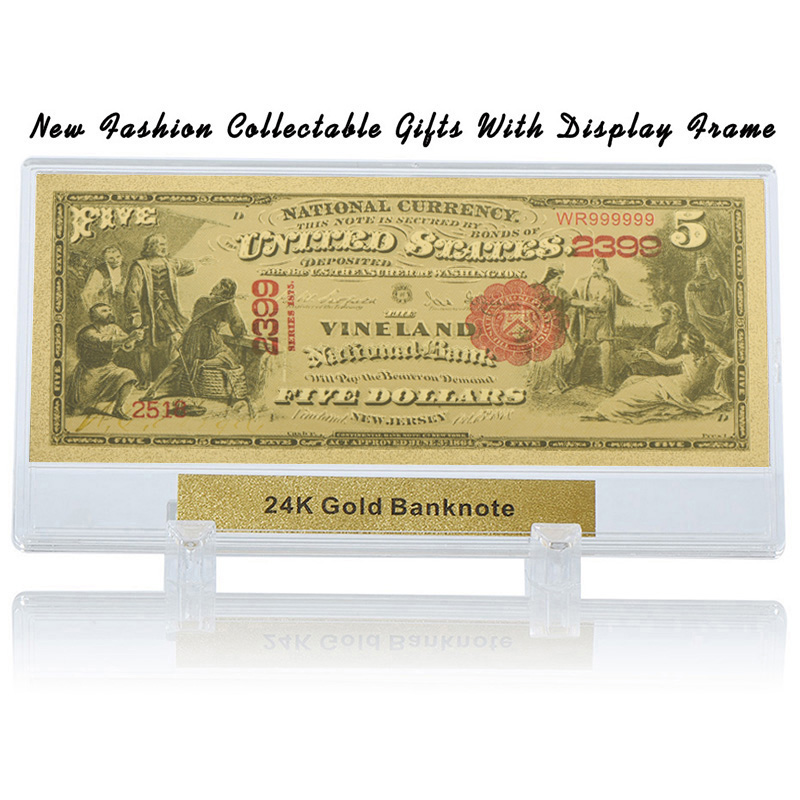 WR Birthday Decoration Items 5 Dollar 24k Colorful Gold Banknote Unique Gifts Fake Money Art Ornament With Plastic Stand In Banknotes From Home