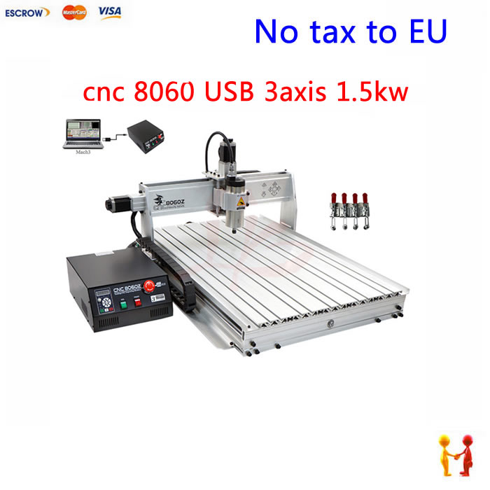 (NO TAX TO EU) 1500w cnc router 8060 3axis USB port mach3 control ball screw for metal aluminum stell wood etc цена 2017