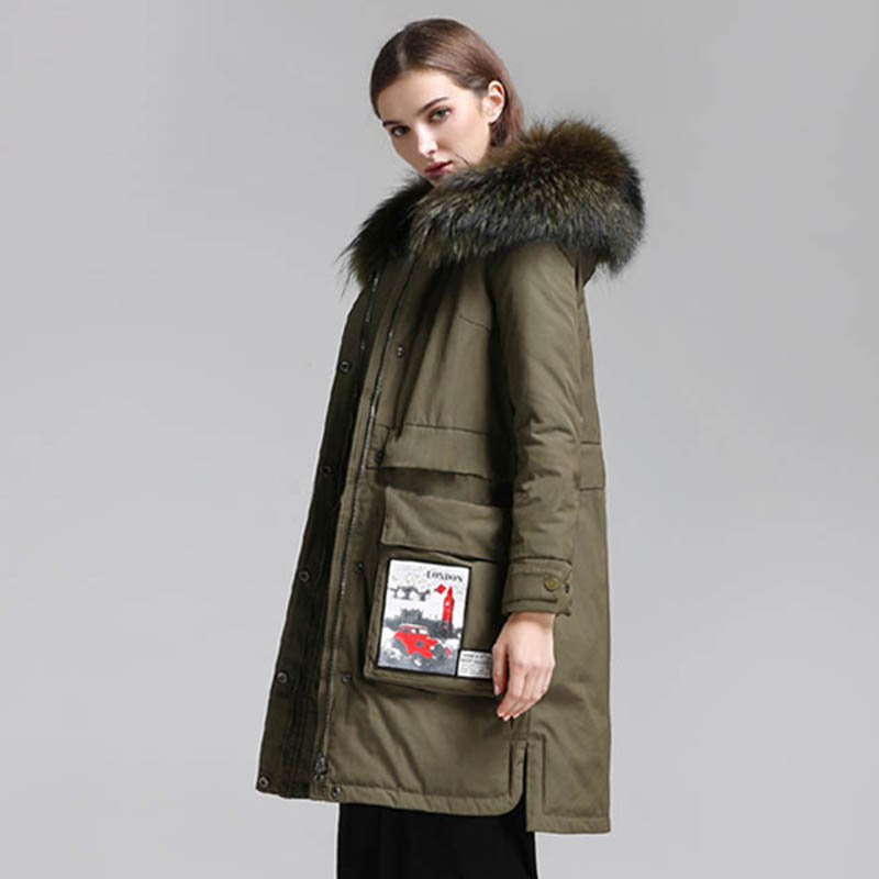 90% White Duck   Down     Coat   2018 Brand Womens   Down   Jackets Long Thick Parka Large Natural Raccoon Fur Collar Winter Warm Parka
