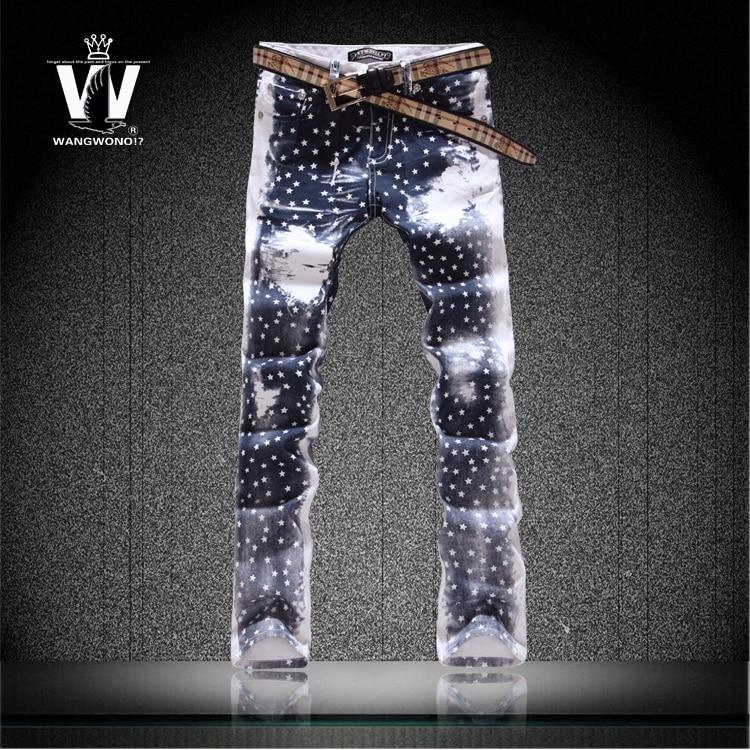 Original news Jeans small fresh colored drawing flower slim pants Korean star trousers mens top brand