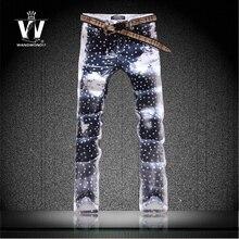 Оригинал новости джинсы небольшой свежий цвета рисунок цветка тонкие брюки корейской звезды брюки мужские лучший бренд завод подключение